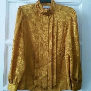 Vtg. Gold Rose Print Blouse